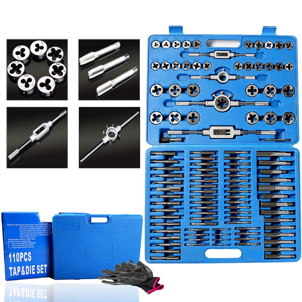 110 Piece Combination Tap and Die Set Alloy Steel 50°- 60° Metric Tools with Carrying Case + Free Glove Amazing Tour by FunTrip (Image #2)