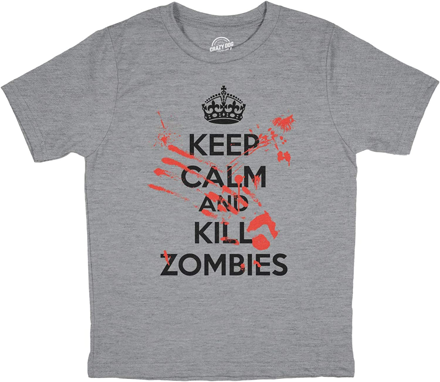 Funny Halloween T-Shirt for Kids Youth Keep Calm and Kill Zombies Shirt