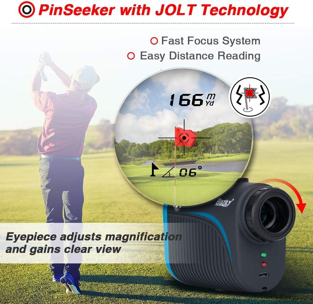 Bozily Golf Rangefinder 6x Rechargeable Laser Range Finder 1200 Yards With Slope Adjustment Flag Lock Slope On Off 4 Scan Mode Continuous Scan