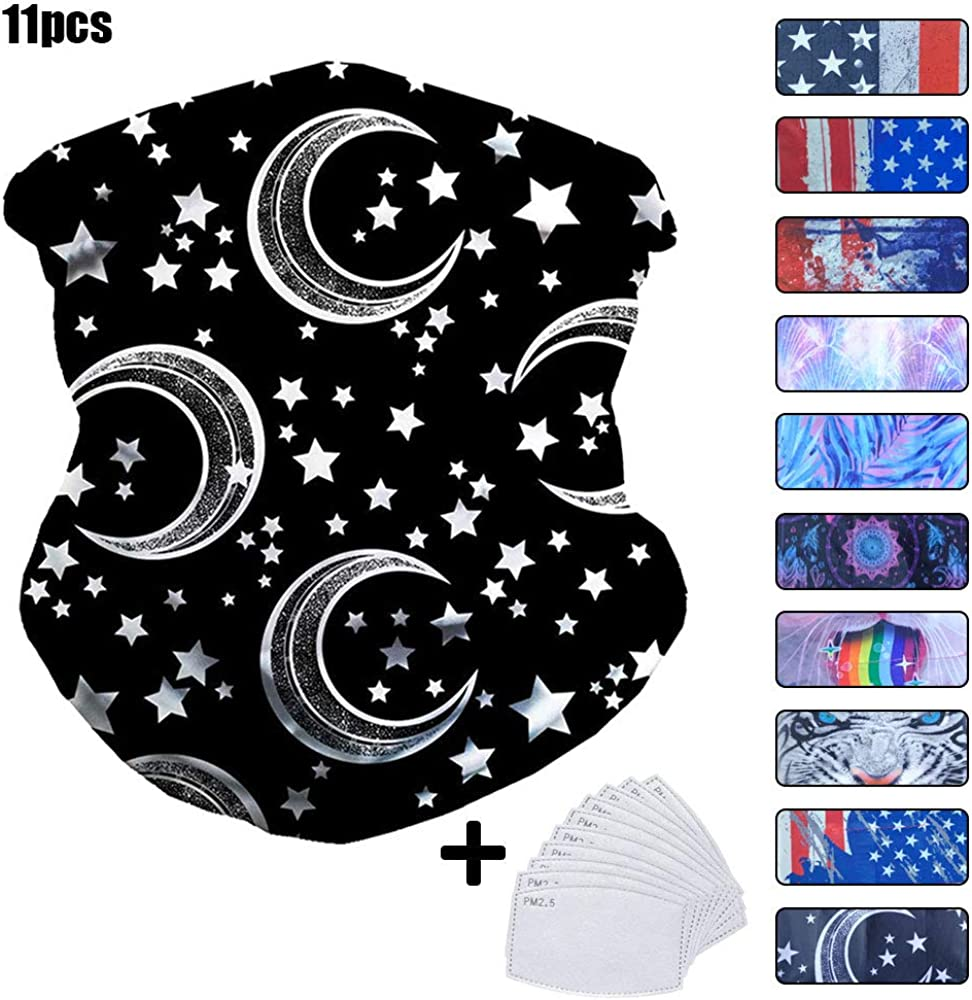 Cooling Neck Gaiter with Safety Carbon Filters Face Scarf Cover Mask Cooling Face Cover for Women Men Face Scarf Bandana for Rave Face Mask Dust Wind UV Sun Neck Gaiter Tube Mask Headwear
