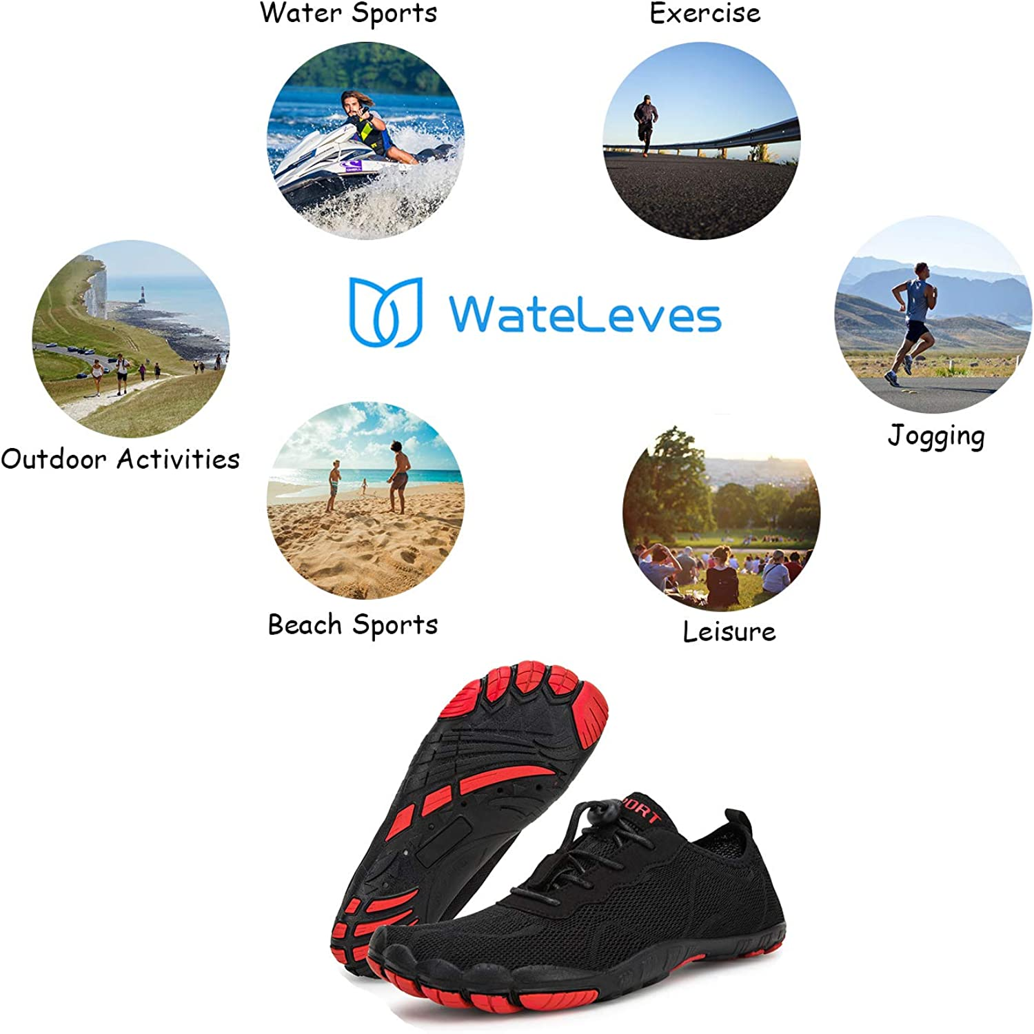| Water Shoes for Men and Women Barefoot Quick-Dry Aqua Sock Outdoor Athletic Sport Shoes for Kayaking, Boating, Hiking, Surfing, Walking | Water Shoes