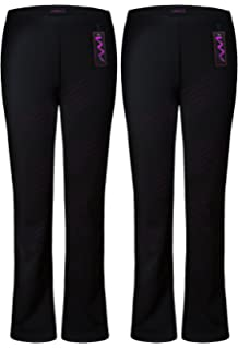 Ladies Pack Of 2 Bootleg Stretch Finely Ribbed Trousers Black Size 8-26 Leggings