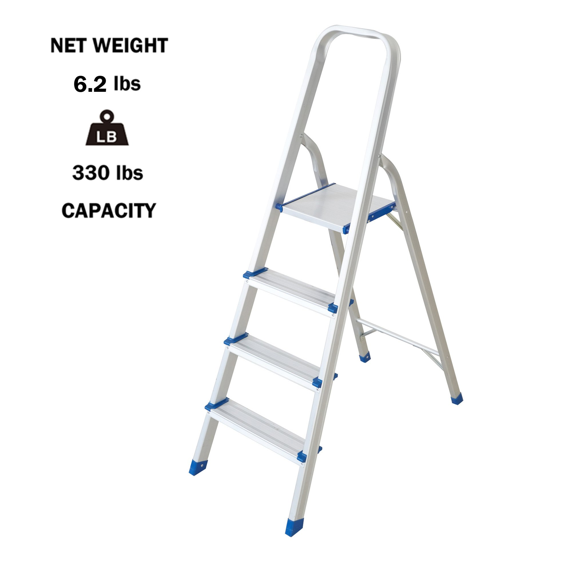 Lucky Tree Lightweight Step Ladder 4 Step Foldabe Tall Stepladders Non-Slip Aluminum Step Stools for Household and Office, 330lbs