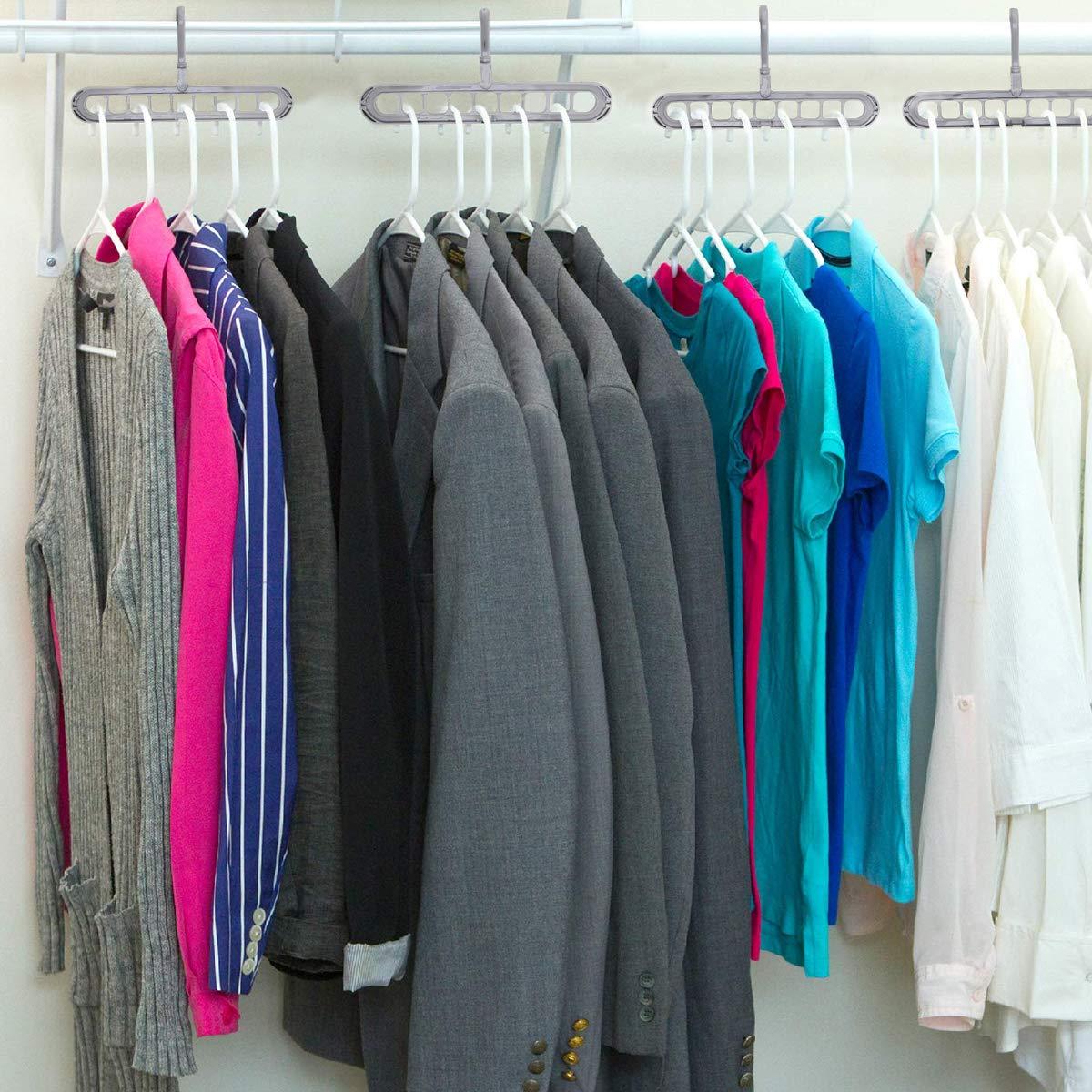 Grau Kleiderb/ügel Platzsparende,5 St/ück Magische Kleidung Multi Kleiderb/ügel Platzsparende Falten Haken Rack Kleiderschrank Organizer,Schrank Kleiderb/ügelhalter