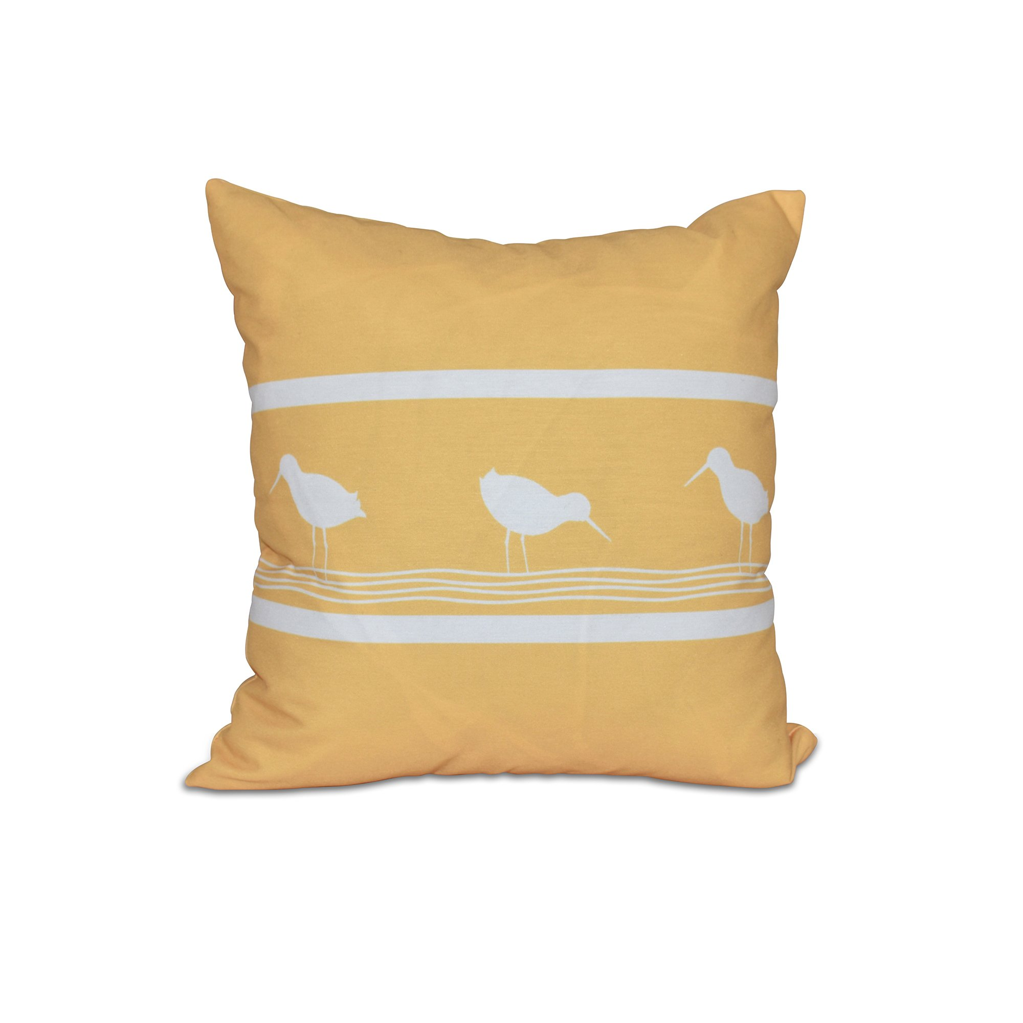 E by design 20 x 20-inch, Birdwalk, Animal Print Pillow, Yellow