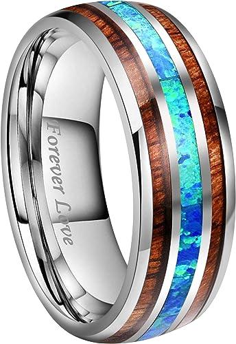 Tungsten Ring 8mm Gold Tungsten Carbon Fiber Ring Tungsten Wedding Ring Mens Womens Wedding Band Tungsten Anniversary Wedding Engraving