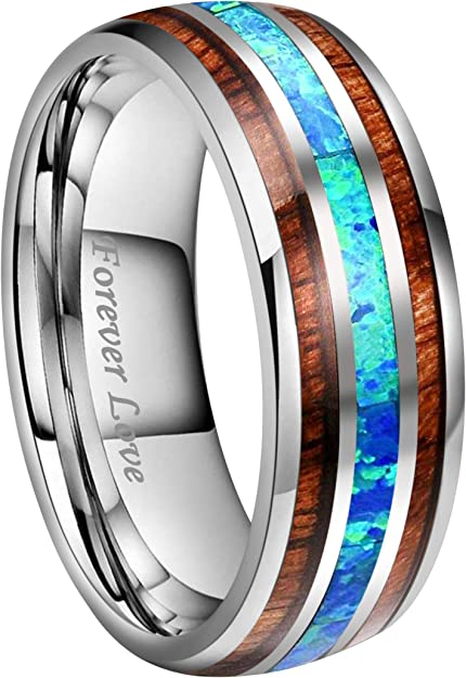 Kingary 8mm Men Anniversary Wedding Bands For Couples Blue Opal