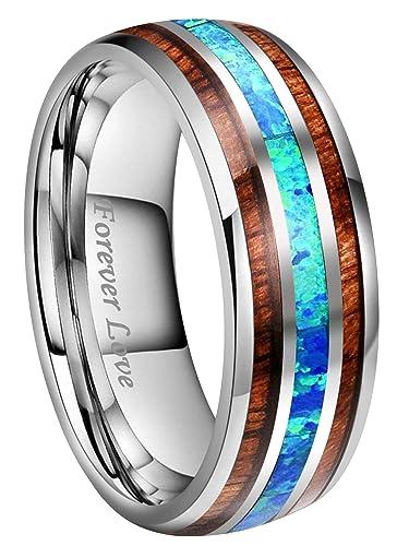 Kingary 8mm Mens Tungsten Carbide Ring Imitated Blue Opal Rare Koa