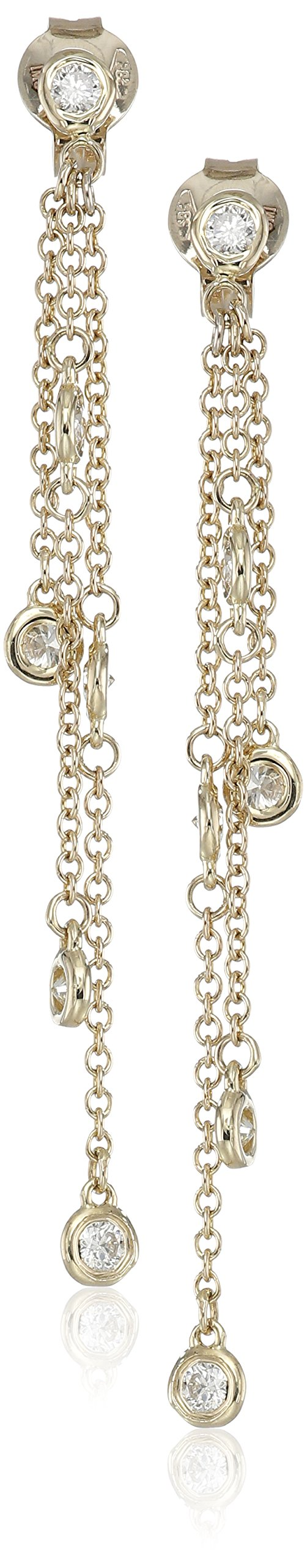 14k Yellow Gold Floating Diamond Dangle Earrings (1/2cttw, K-L Color, I1-I2 Clarity)