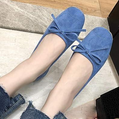384304c4f5034 Amazon.com   Pengy Women Bow Flat Shoes Shallow Mouth Soft Bottom ...