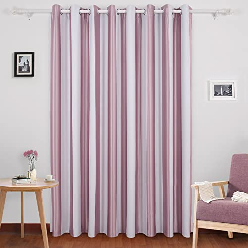 Deconovo Panel Vertical Striped Blackout Wide Width Grommet Window Curtain for Girls Room, 100×84, Pink Lavender