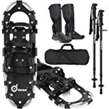 Odoland 4-in-1 Snowshoes Snow Shoes for Men and Women with Trekking Poles, Carrying Tote Bag and Waterproof Snow Leg Gaiters,