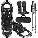 Odoland 4-in-1 Snowshoes Snow Shoes for Men and Women with Trekking Poles, Carrying Tote Bag and Waterproof Snow Leg…