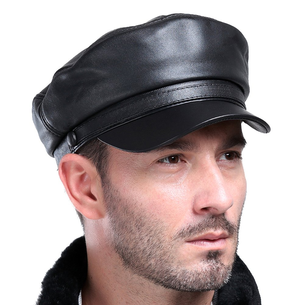 VEMOLLA Mens Real Sheepskin Leather Beret Cap Golf Military Cadet Hat  Newsboy Baseball 538c5edb6ff4