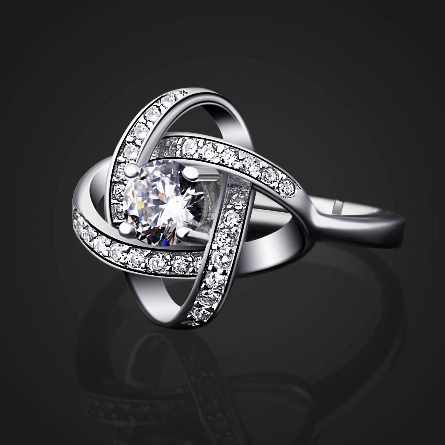 B.Catcher Women's Ring Adjustable 925 Sterling Silver Cubic Zirconia Valentine's Gift for Her by B.Catcher (Image #2)