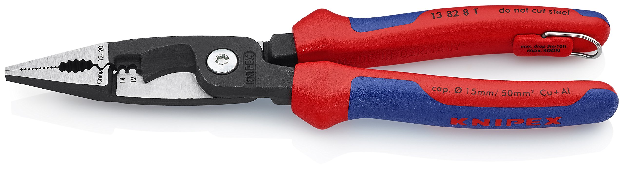 Knipex Tools 13 82 8 T BKA 8'' 6 in 1 Electrical Installation Pliers with Tether Attachment-Comfort Grip by KNIPEX Tools