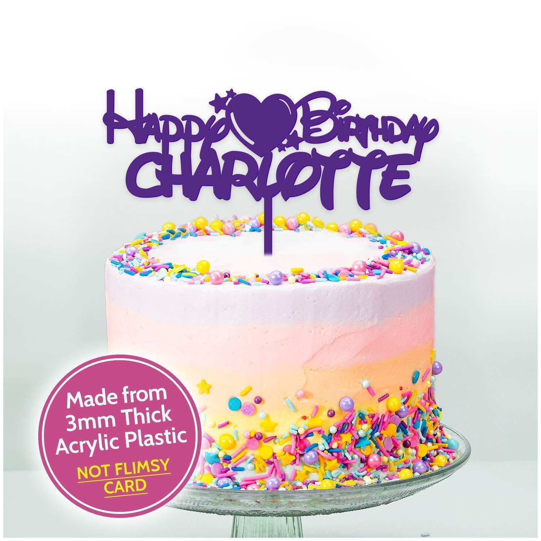 Astonishing Personalised Love Heart Cake Topper Acrylic Birthday Cake Personalised Birthday Cards Akebfashionlily Jamesorg