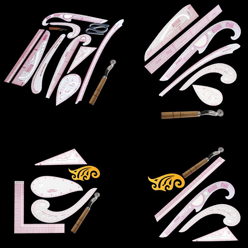MagiDeal Kit di 10pz Nastro Disegno Linea Retta Virgola Francese di Curva Righello per Cucito Sartoria Mestiere DIY