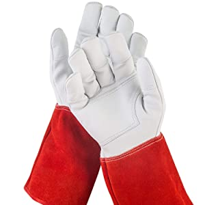 NoCry Long Leather Gardening Gloves - Puncture Resistant with Extra Long Forearm Protection and Reinforced Palms and Fingertips, Size Large