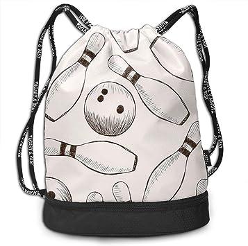 PmseK Mochila con Cordón,Bolsas de Gimnasia, Bowling Pins and Balls Draw String Bags Sack Pack Cinch Storage Bag for Traveling Hiking: Amazon.es: Deportes y aire libre