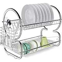 Deals on Anfan 2-Tier Dish Rack Stainless Steel Dish Drying Rack w/Tray