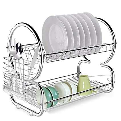 2-Tier Dish Rack Drainer Kitchen Storage Stainless Steel Space Saver Dish Drying Rack