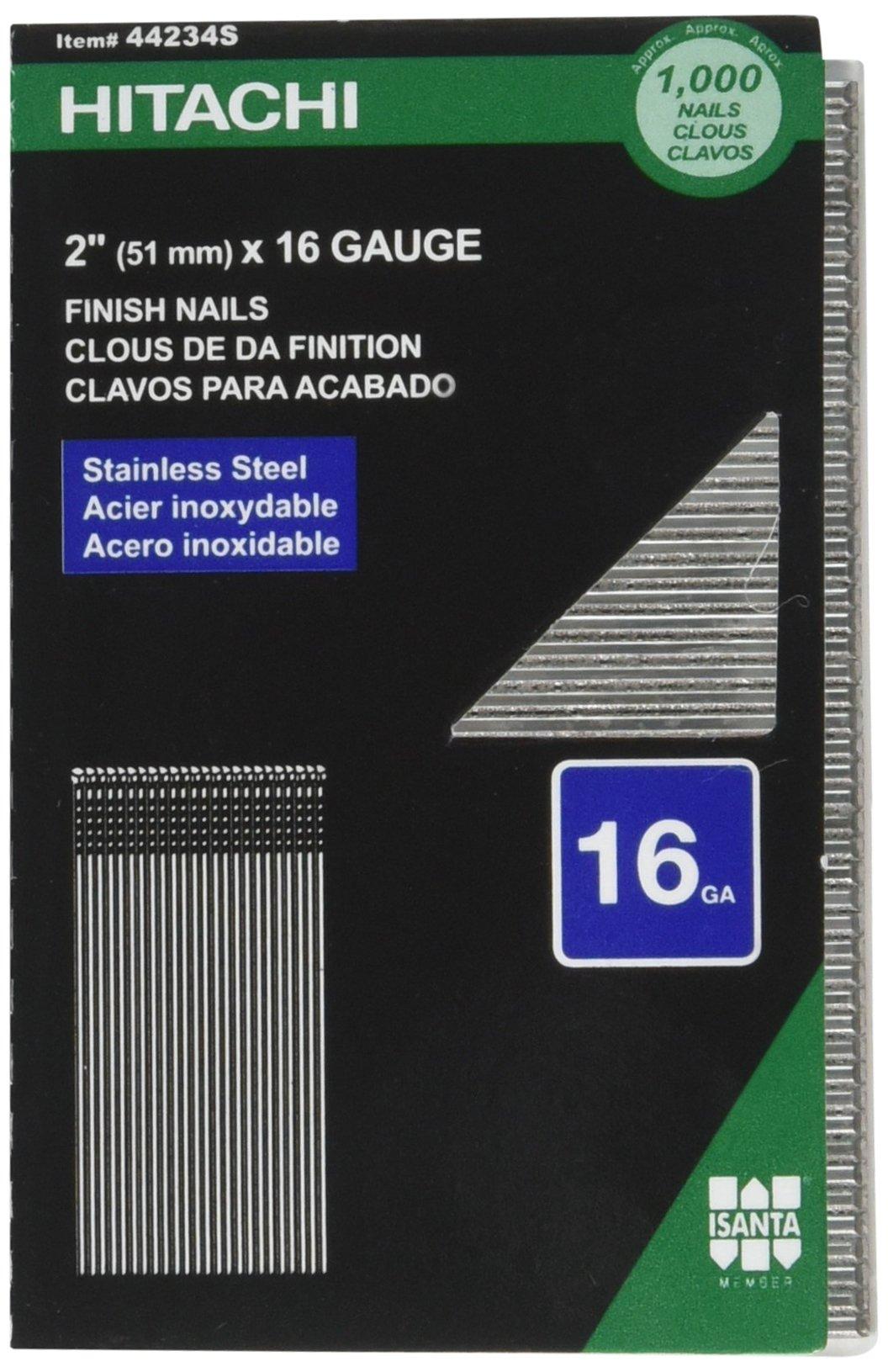Hitachi 44234S Hitachi 44234S 1M 2 In 16 GA SS Finish Nail,