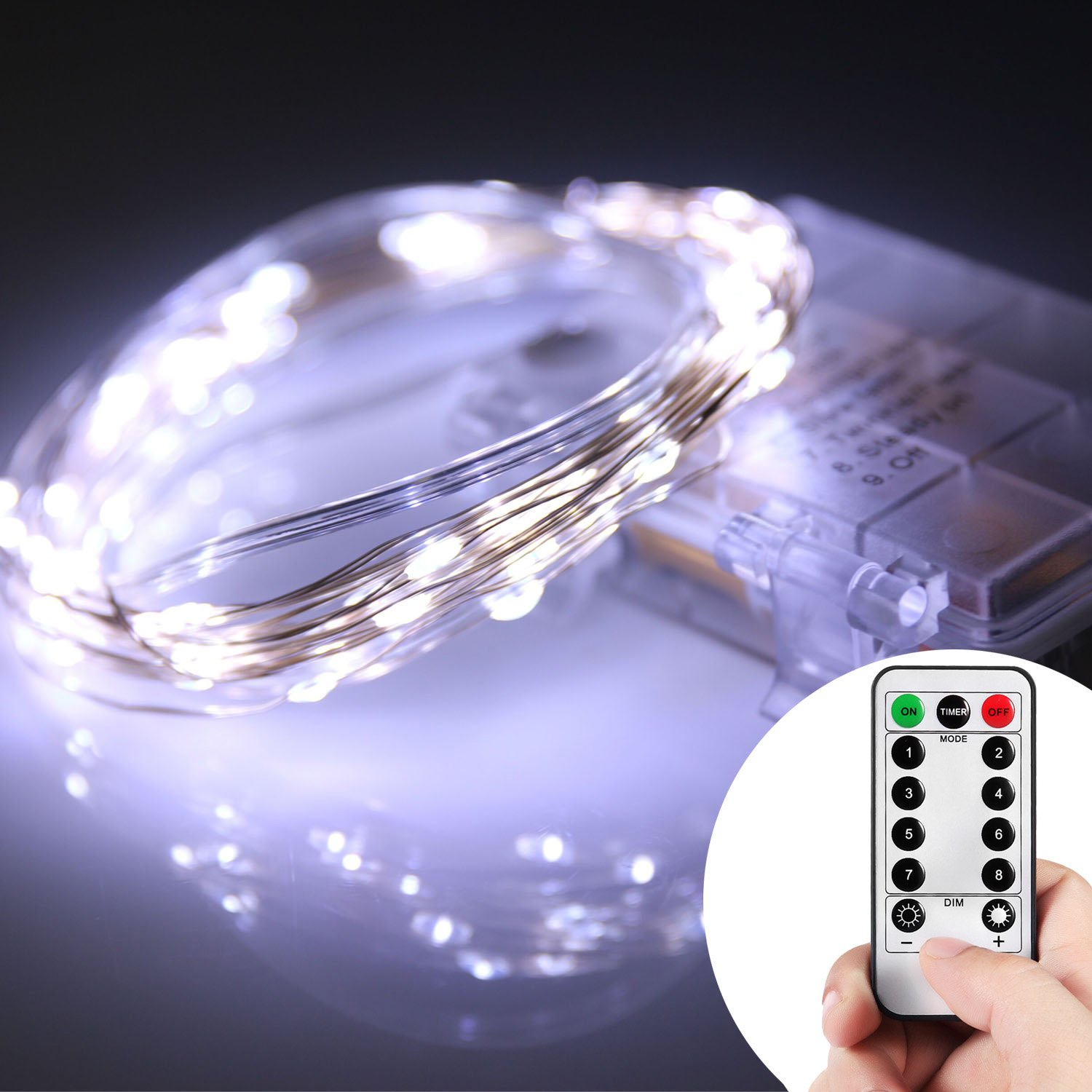 Homestarry 66 Led Mini Battery String Lights 16 Feet Cool White 16 Feet 66 Leds 14