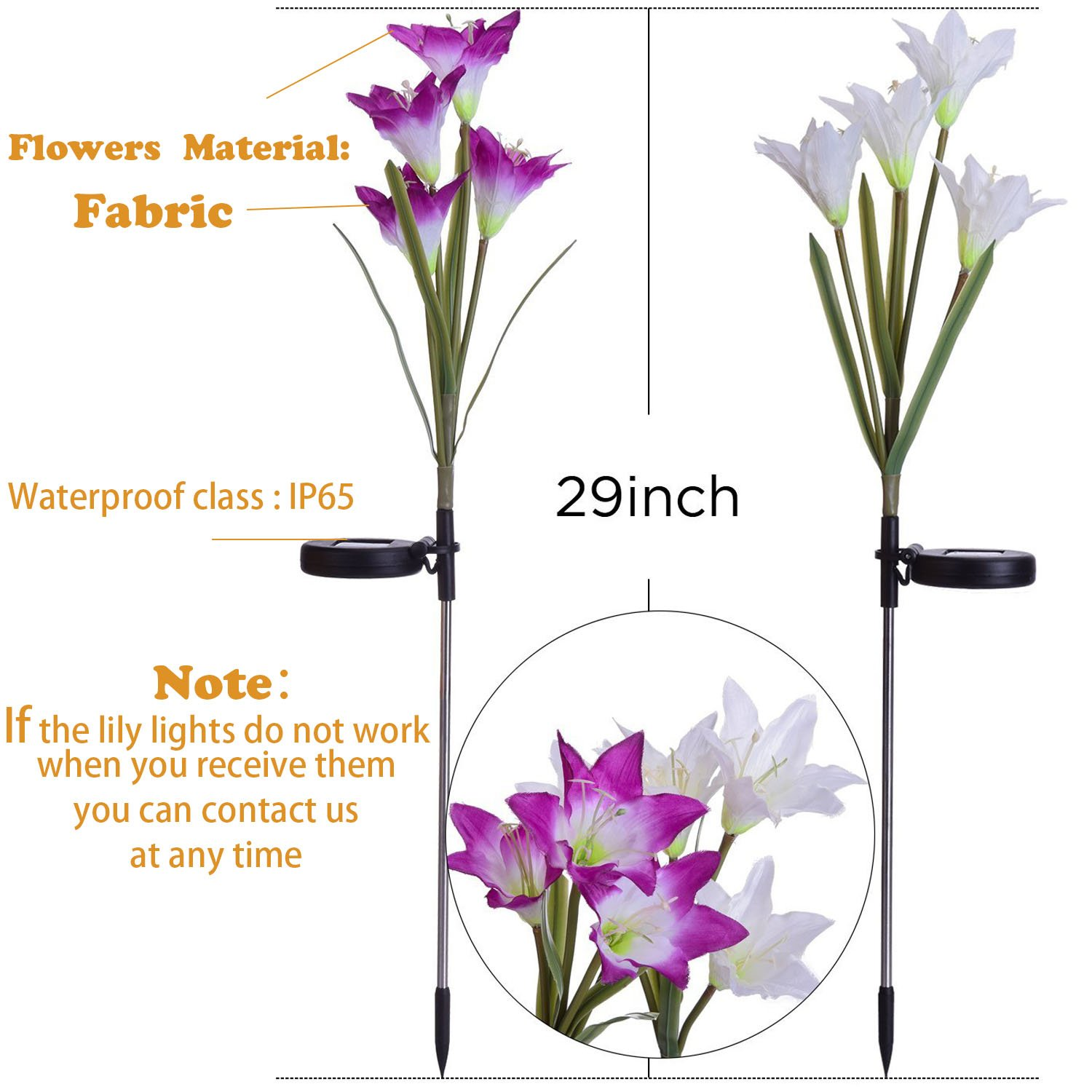 Outdoor Solar Garden Stake Lights - 2 Pack Solarmart Solar Powered Lights with 8 Lily Flower, Multi-color Changing LED Solar Stake Lights for Garden, Patio, Backyard (Purple and White) by Solarmart (Image #5)