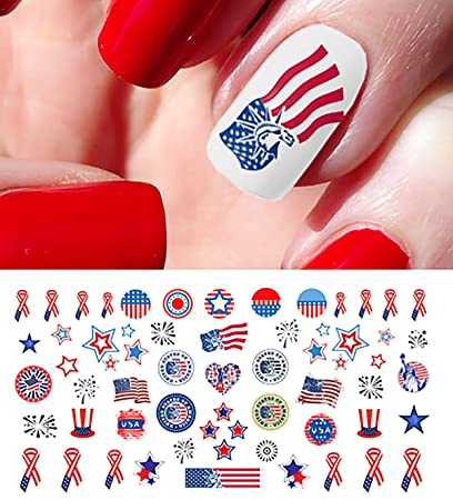 Amazon 4th Of July I Love America Nail Art Waterslide Decals
