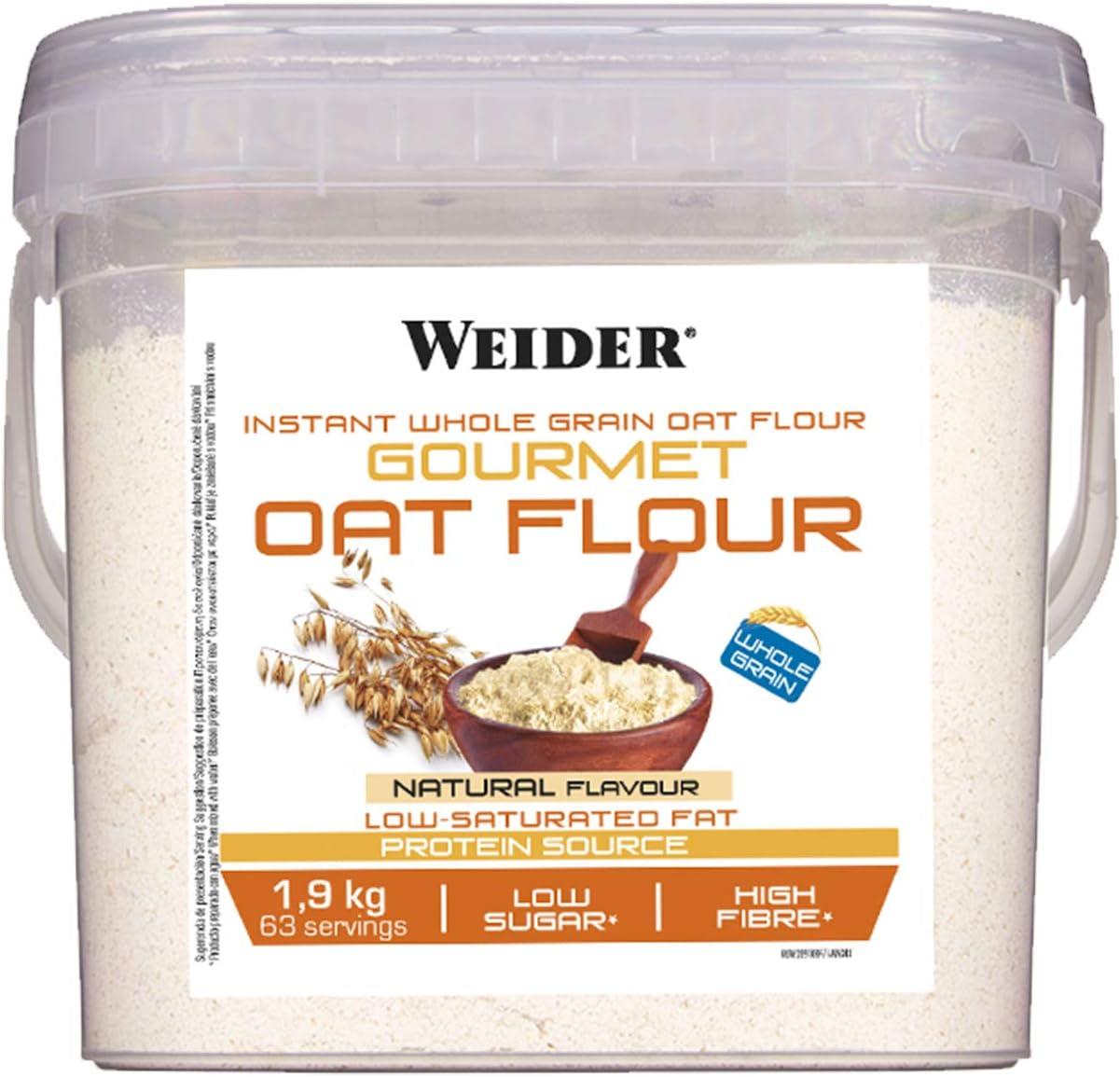 Weider Oat Gourmet. Harina de Avena Integral. Fuente de proteína con bajo contenido en azúcares. Sabor Neutro (1,9 kg)