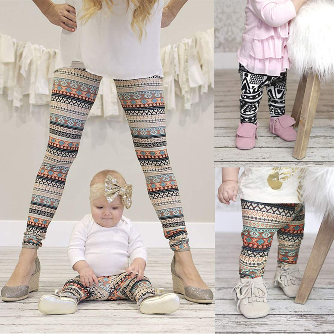 Mommy and Me One Piece Leggings Mother Daughter Boho Print High Waist Long Tights Trousers