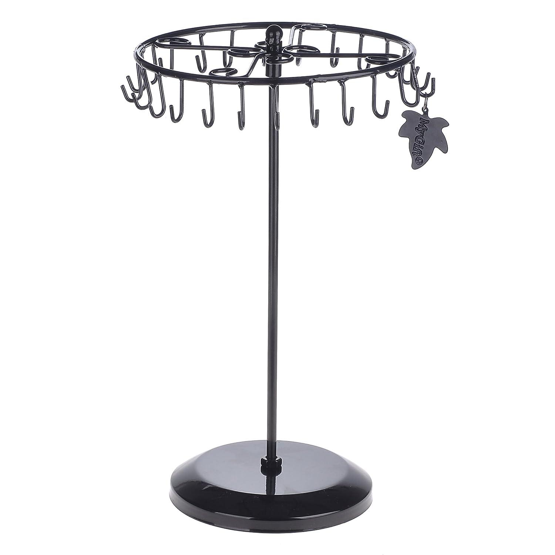 Black Rotating Necklace Holder Bracelet Stand / Jewelry Organizer / Jewelry Tree by MyGift TB-J0086BLK