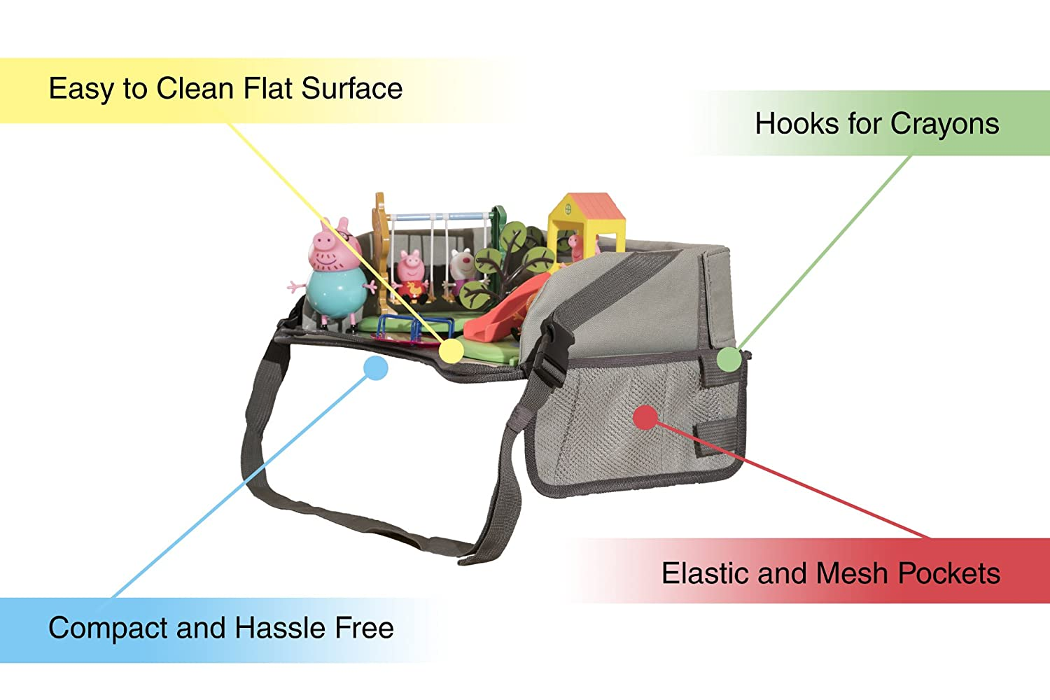 The TRAYVEL Snack train /& plane Childrens Car Seat Travel Tray Sturdy surfaces /& sidewalls Scribble buggy Stick On-the-Go Use in cars Wipeable Surfaces /&Toy Organiser