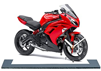 Moto Kawasaki Er 6f Rouge En Horloge Miniature Sur Socle 24 Amazon