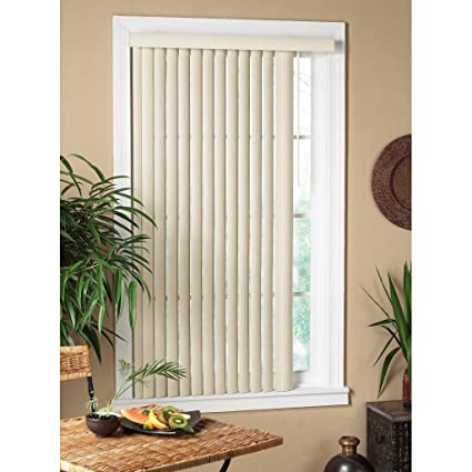 Vertical Alabaster Textured Window Blind 48 Inches Wide X 64 Long Light Filtering PVC Elegant Decor Color Off White Perfect Fit Easy To Install Home