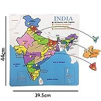 Revent 21 Pcs Knob Wooden Puzzle Map of India (Size- 44Cm X 39.5Cm)