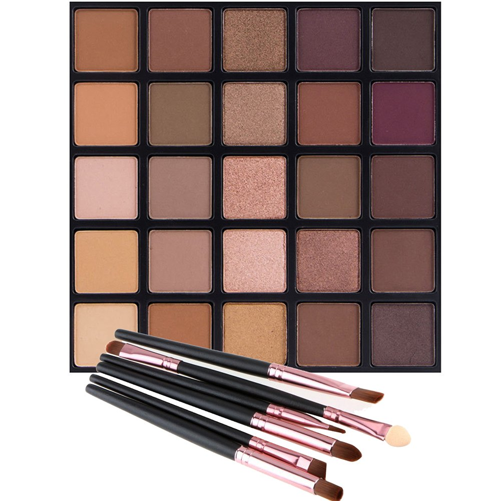 Matte and Shimmer Eyeshadow Palette, Vodisa 25 Smoky Warm Color Eye Shadows Glitter Makeup Kit Make Up Brushes Set Nature Nude Earth Tone Waterproof Beauty Cosmetics High Pigment Powder Pallet 25B by Vodisa