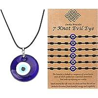 Evil Eye Necklace Bracelet Set for Men Women Glass Leather Rope Chain Jewelry 7 Knot Lucky Bracelets Adjustable Red…