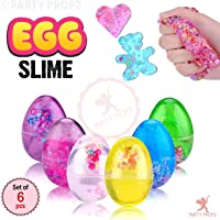 Party propz Slime Eggs, 6pcs Colorful Fluffy Slime Eggs Galaxy Fluffy Slime Non Sticky, Stress Toy Party Favor for Kids and Adults