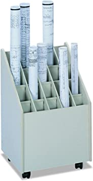 Safco 50 Compartment Mobile Wood Roll Files Storage in Putty