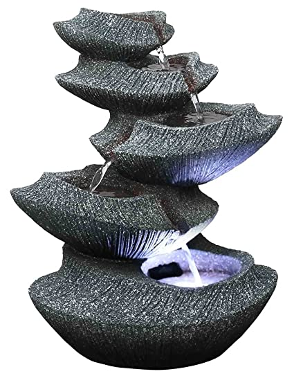 Stone Water Fountain Outdoor.Modern Stone Tiers 14 Fountain W Led Light Small Indoor Outdoor Water Feature For Tabletops Entryways Gardens Patios Hand Crafted Design