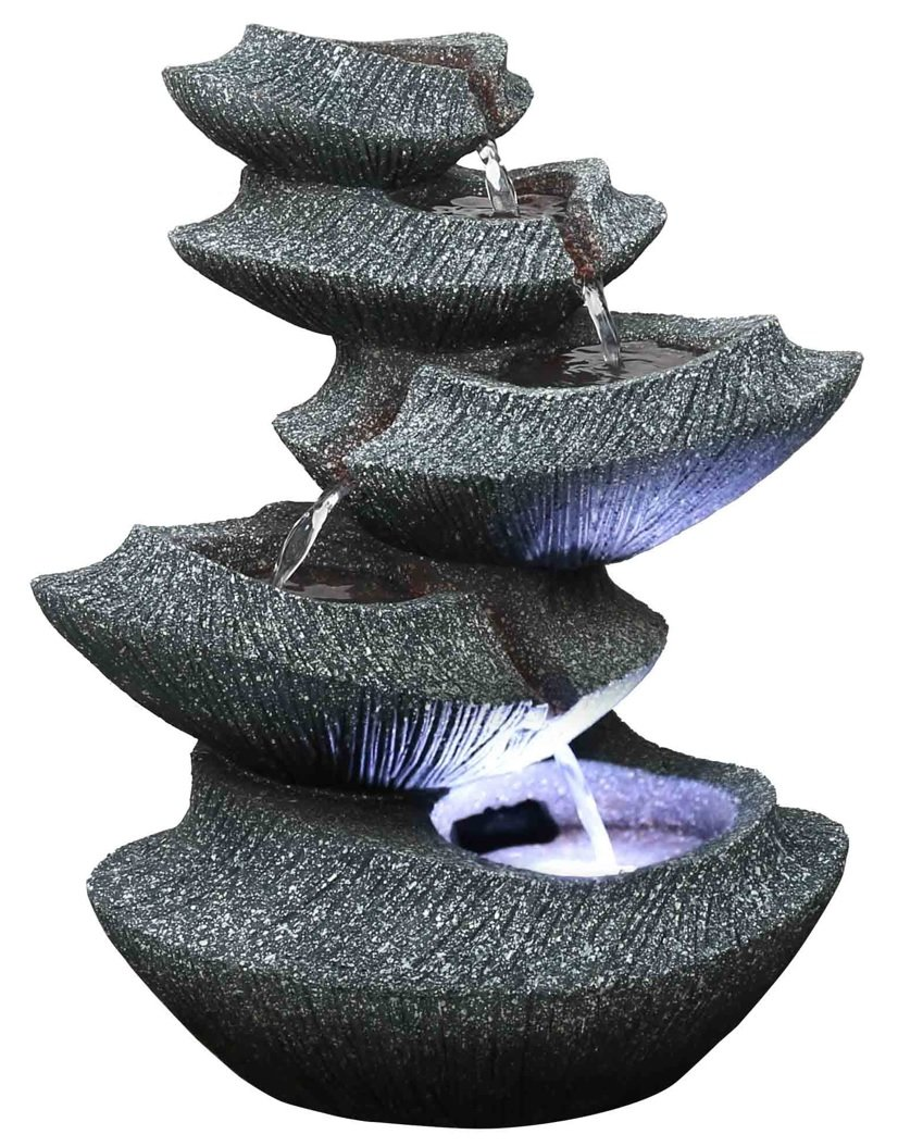 Harmony Fountains Modern Stone Tiers 14'' Fountain w/LED Light: Small Indoor/Outdoor Water Feature for Tabletops, Entryways, Gardens & Patios. Hand-crafted Design. HF-B16-14LT by