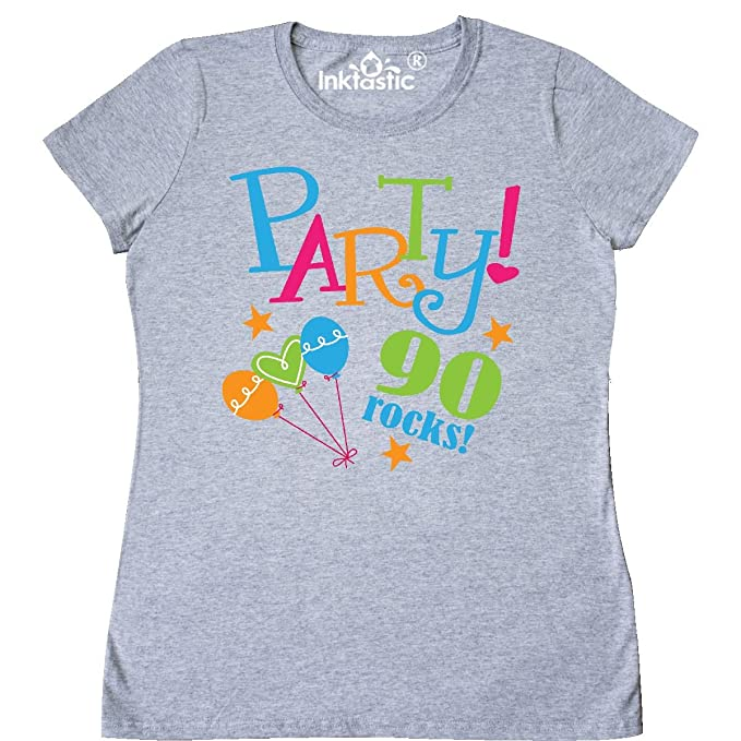 Inktastic 90th Birthday Party Womens T Shirt Small Athletic Heather