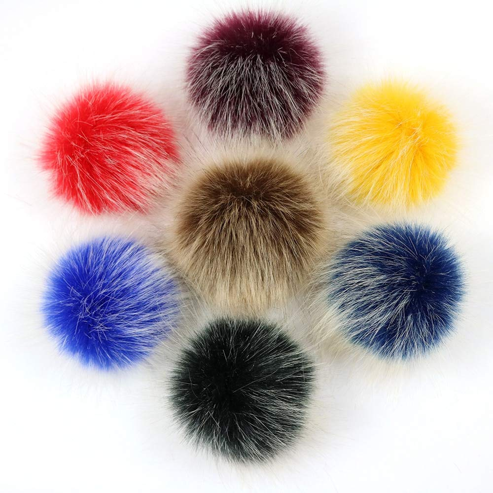 DalaB 15pcs//lot 10cm Faux Raccoon Fur Pompoms Fur Balls for Knitted hat Cap Beanies and Keychain and Scarves Fur pom poms Color: 3