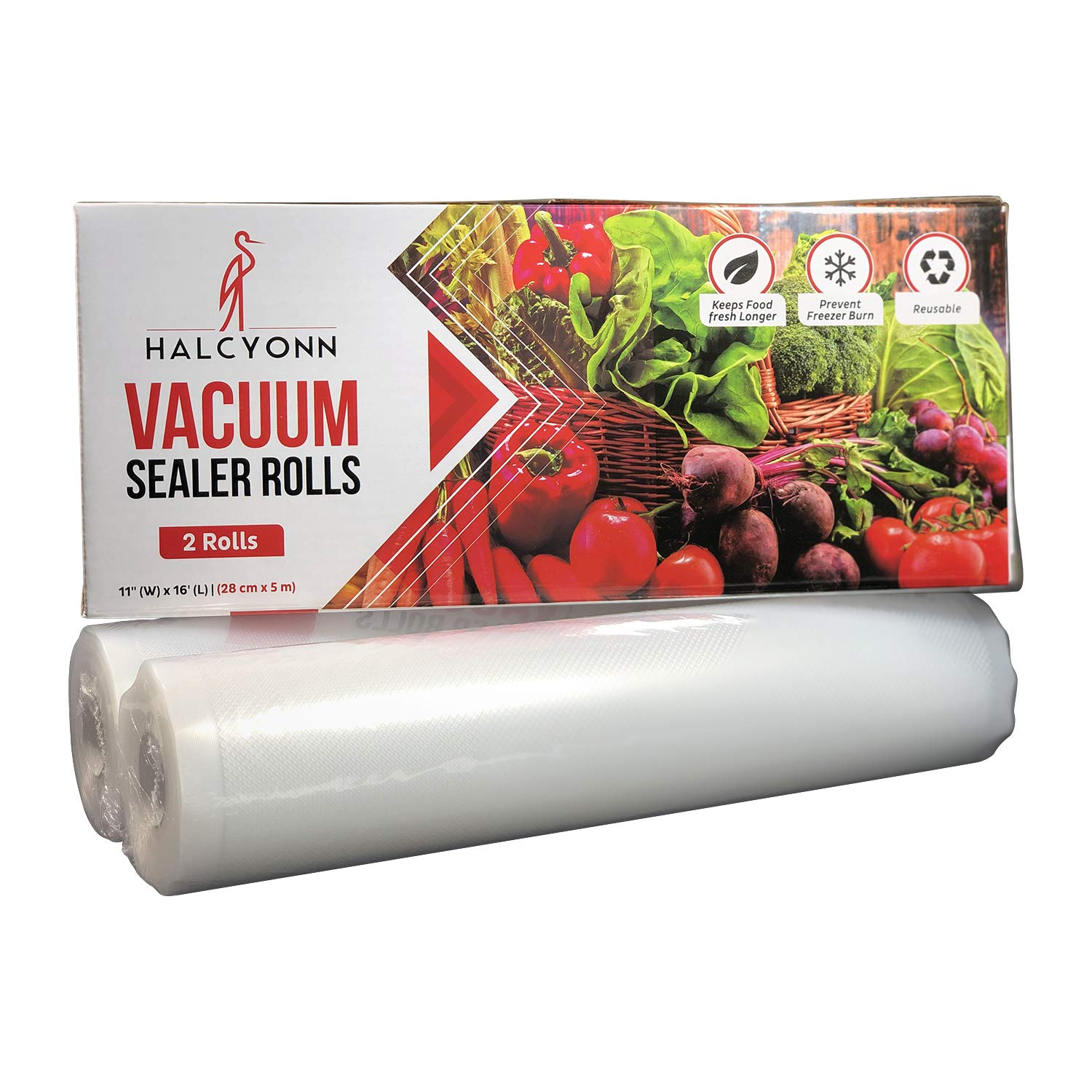 2 Pack Halcyonn Vacuum Sealer Rolls Freezer Preserver 2 large big and wide boilable travel reusable refills roll and xl bags HVSR000001 11 x 16 BPA Safe Thick Heavy Duty Resealable