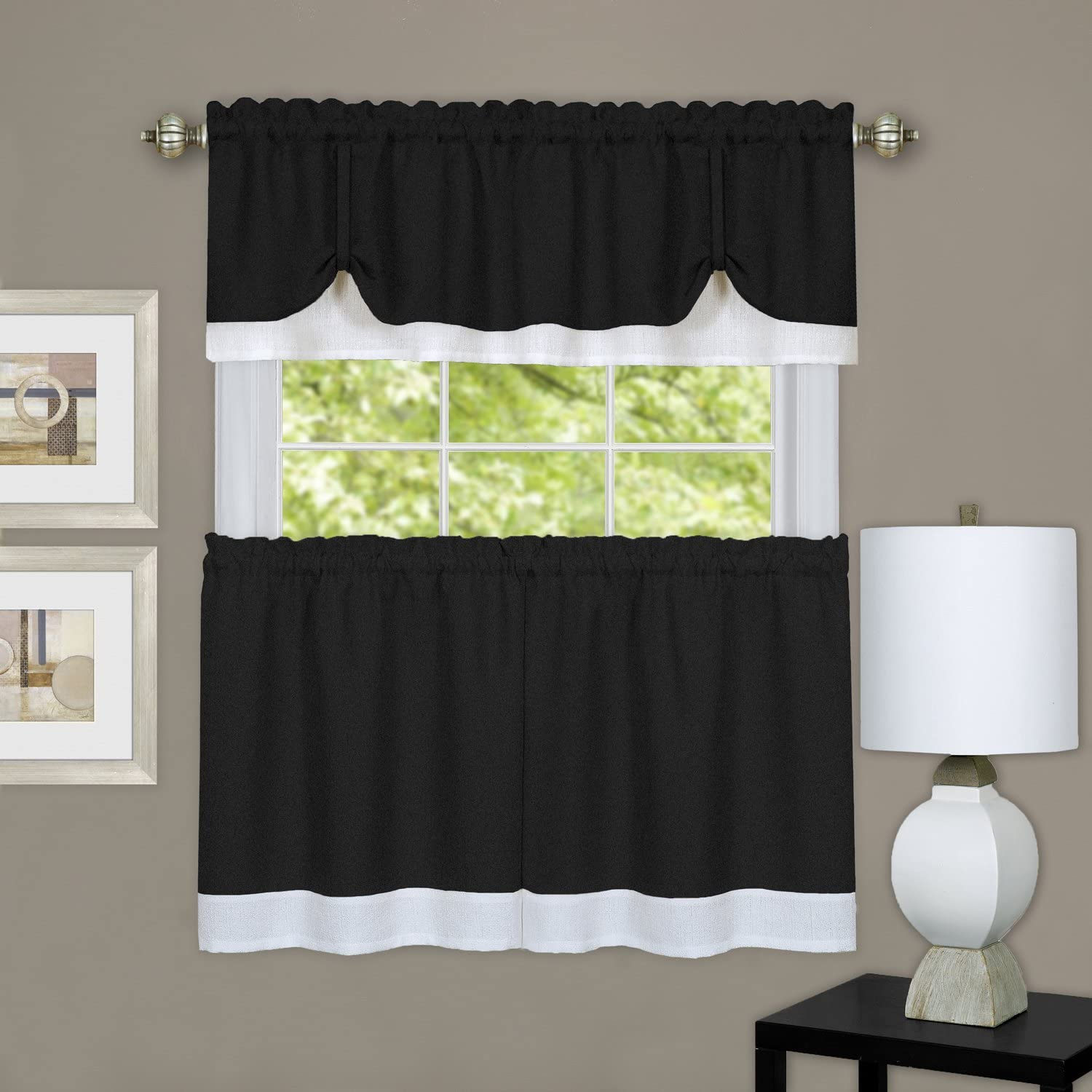 Darcy Window Curtain Tier & Valance Set 58x36/58x14, Black & White
