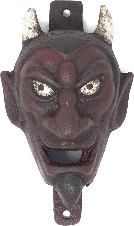 Antique Vintage Style Cast Iron folk art Red Devil Wall mount Bottle Opener