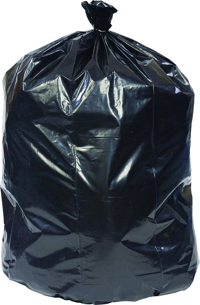 Brighton Professional Super Heavy Recycled Content Trash Bags, Black, 60 Gallon, 100 Bags/Box
