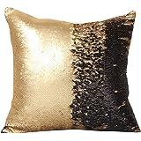 """Livedeal Fodera con paillettes per cuscino, effetto sirena, reversibile, bicolore, 40x 40cm, tessuto, Gold and Black, 16 X 16"""""""